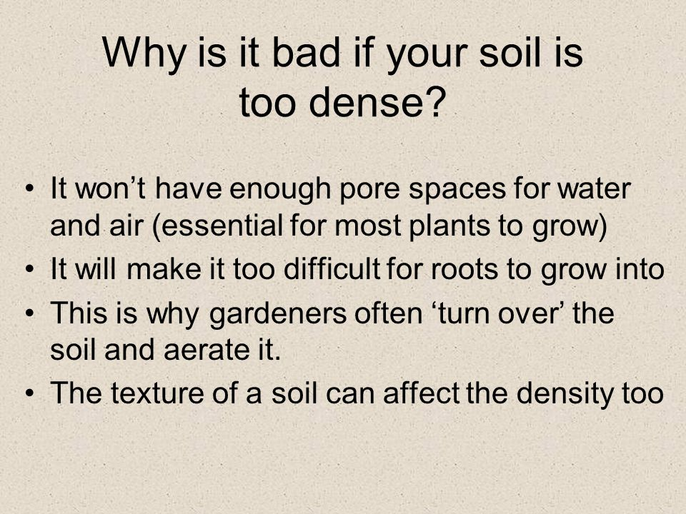 Why is it bad if your soil is too dense.