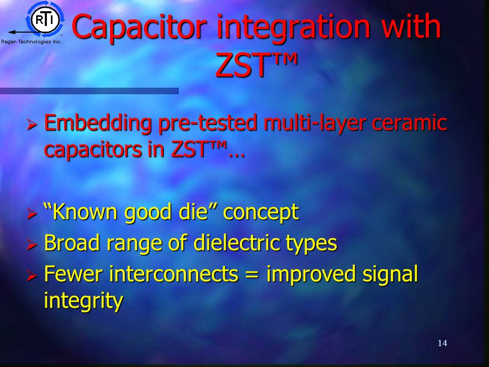 14 Capacitor integration with ZST™  Embedding pre-tested multi-layer ceramic capacitors in ZST™…  Known good die concept  Broad range of dielectric types  Fewer interconnects = improved signal integrity