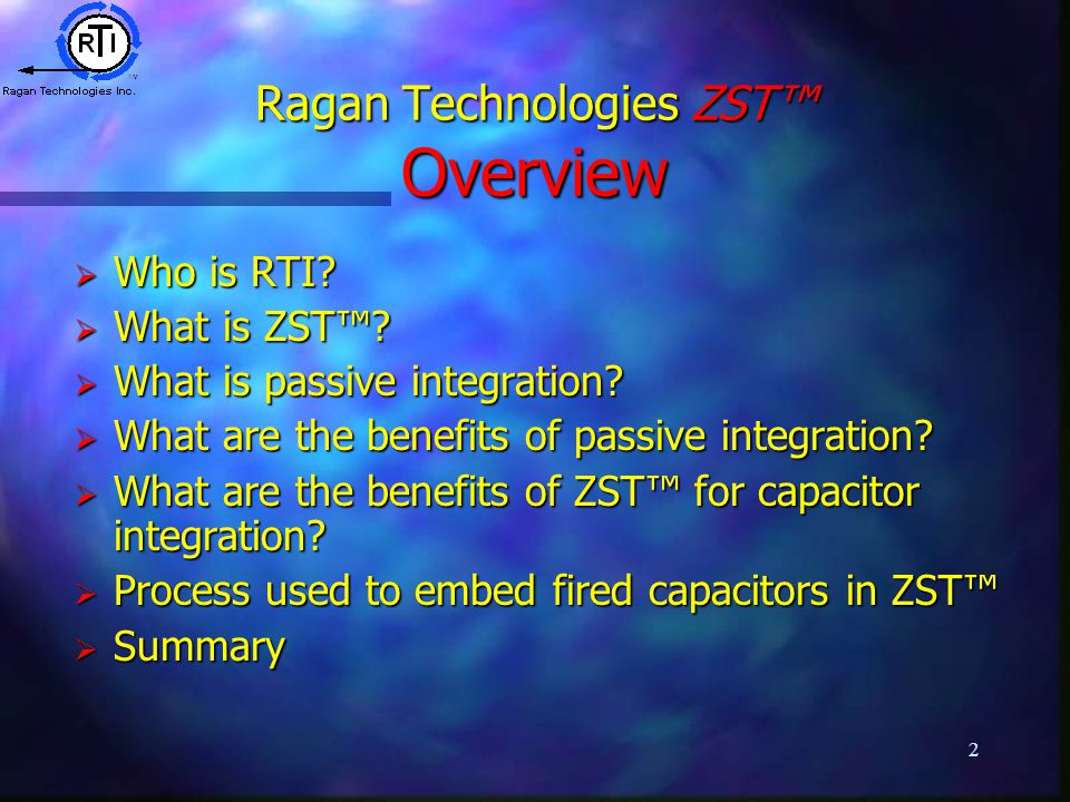 2 Ragan Technologies ZST™ Overview  Who is RTI.  What is ZST™.