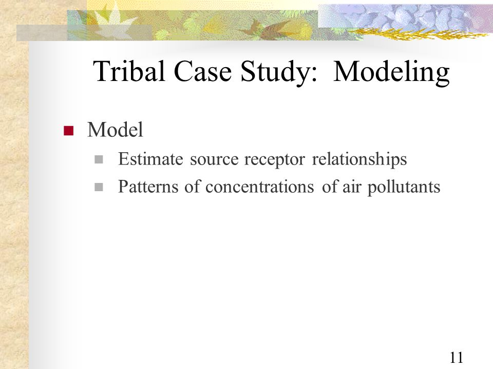 11 Tribal Case Study: Modeling Model Estimate source receptor relationships Patterns of concentrations of air pollutants