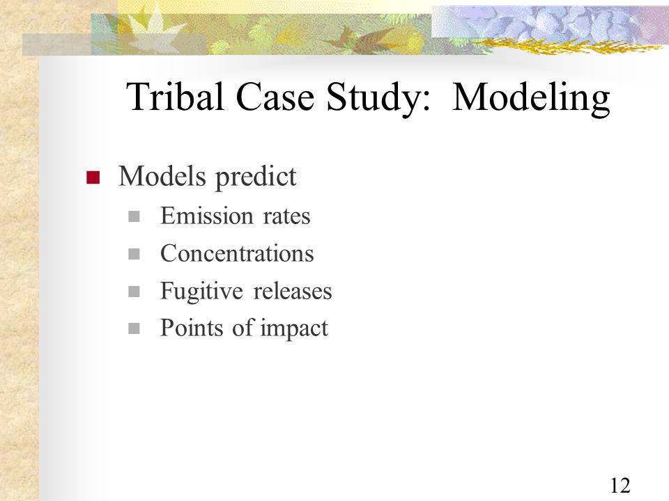 12 Tribal Case Study: Modeling Models predict Emission rates Concentrations Fugitive releases Points of impact
