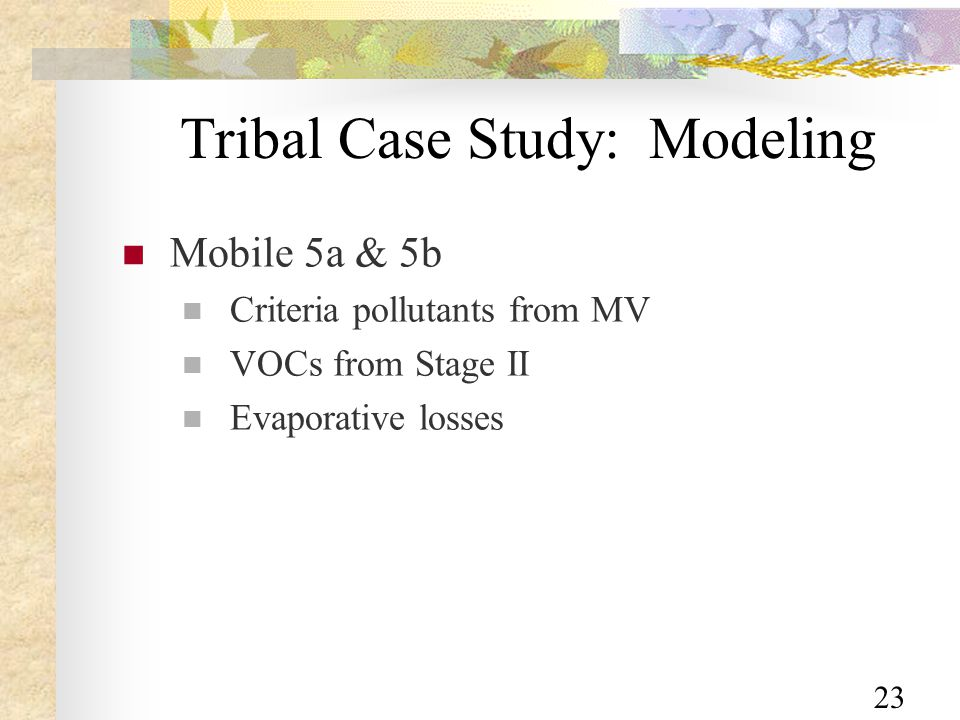 23 Tribal Case Study: Modeling Mobile 5a & 5b Criteria pollutants from MV VOCs from Stage II Evaporative losses