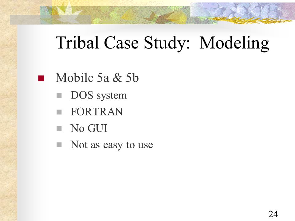 24 Tribal Case Study: Modeling Mobile 5a & 5b DOS system FORTRAN No GUI Not as easy to use