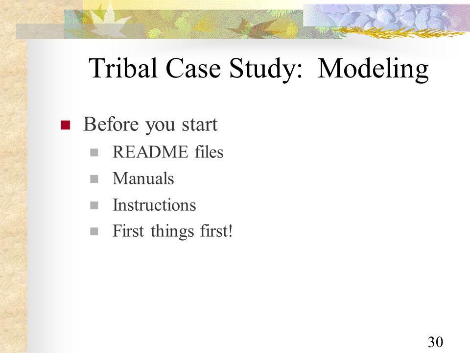 30 Tribal Case Study: Modeling Before you start README files Manuals Instructions First things first!