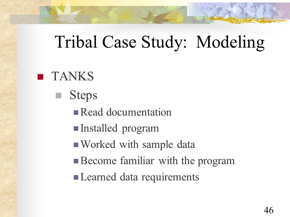 46 Tribal Case Study: Modeling TANKS Steps Read documentation Installed program Worked with sample data Become familiar with the program Learned data requirements