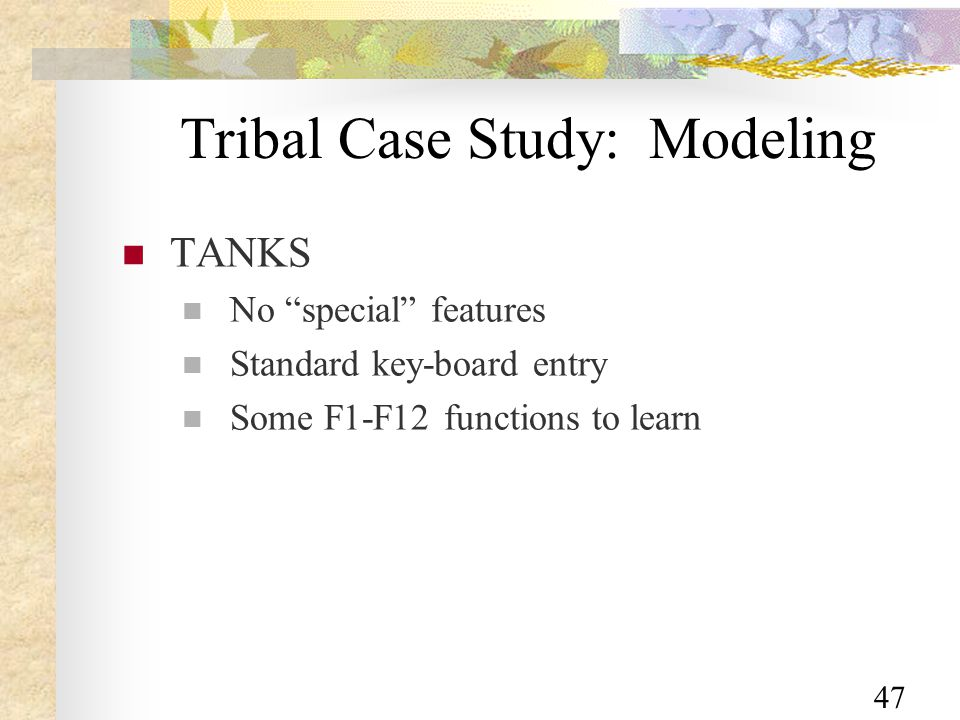 47 Tribal Case Study: Modeling TANKS No special features Standard key-board entry Some F1-F12 functions to learn