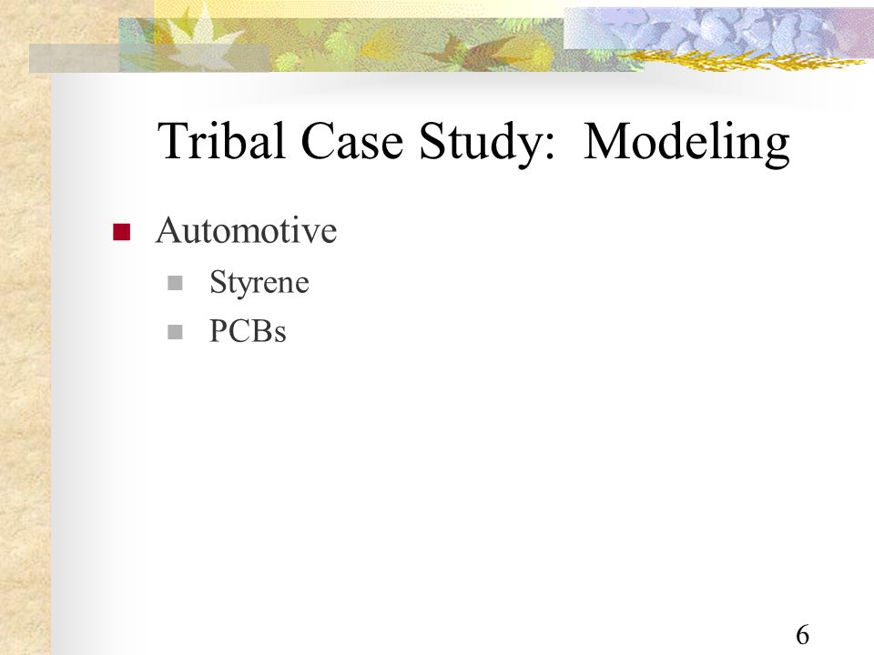 6 Tribal Case Study: Modeling Automotive Styrene PCBs
