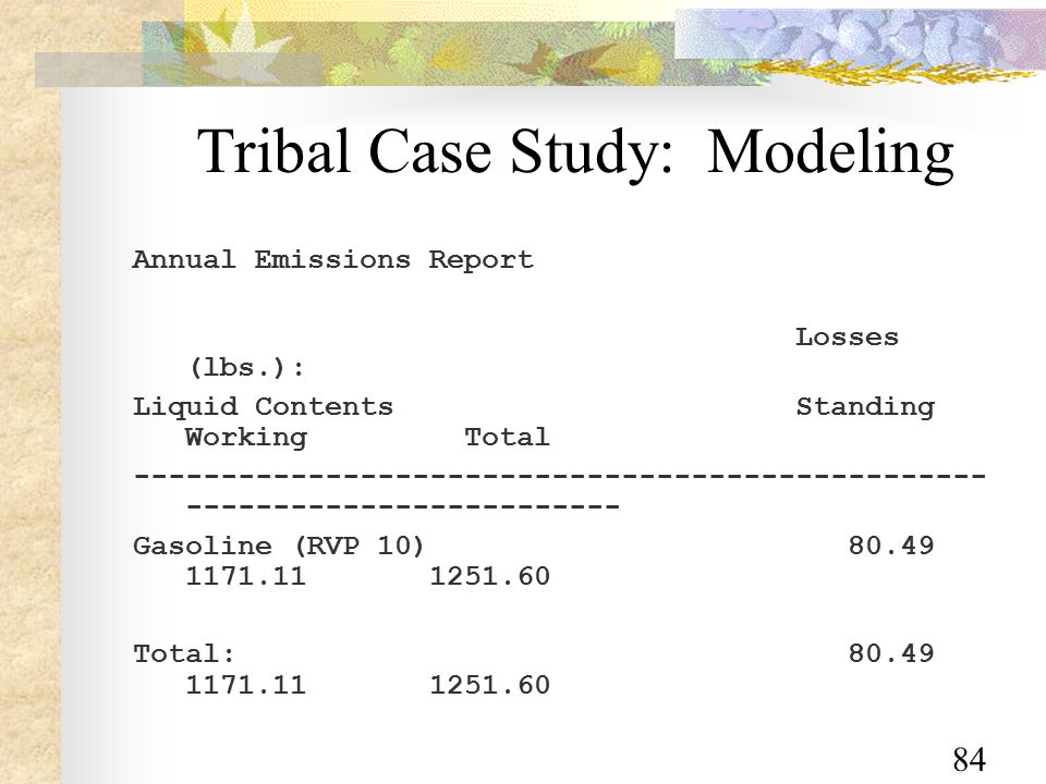 84 Tribal Case Study: Modeling Annual Emissions Report Losses (lbs.): Liquid Contents Standing Working Total ------------------------------------------------- ------------------------- Gasoline (RVP 10) 80.49 1171.11 1251.60 Total: 80.49 1171.11 1251.60