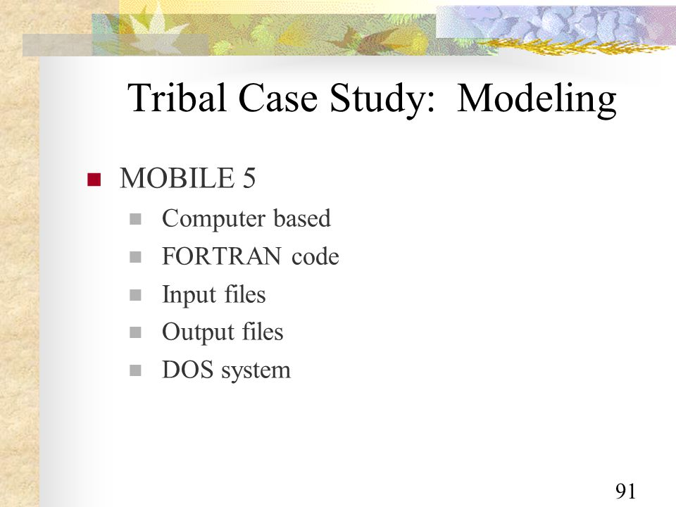 91 Tribal Case Study: Modeling MOBILE 5 Computer based FORTRAN code Input files Output files DOS system
