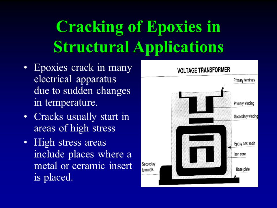 Cracking of Epoxies in Structural Applications Epoxies crack in many electrical apparatus due to sudden changes in temperature.