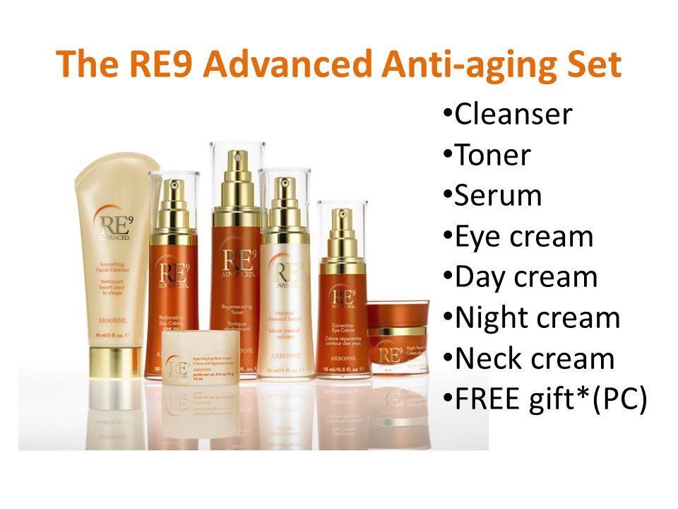 The RE9 Advanced Anti-aging Set Cleanser Toner Serum Eye cream Day cream Night cream Neck cream FREE gift*(PC)