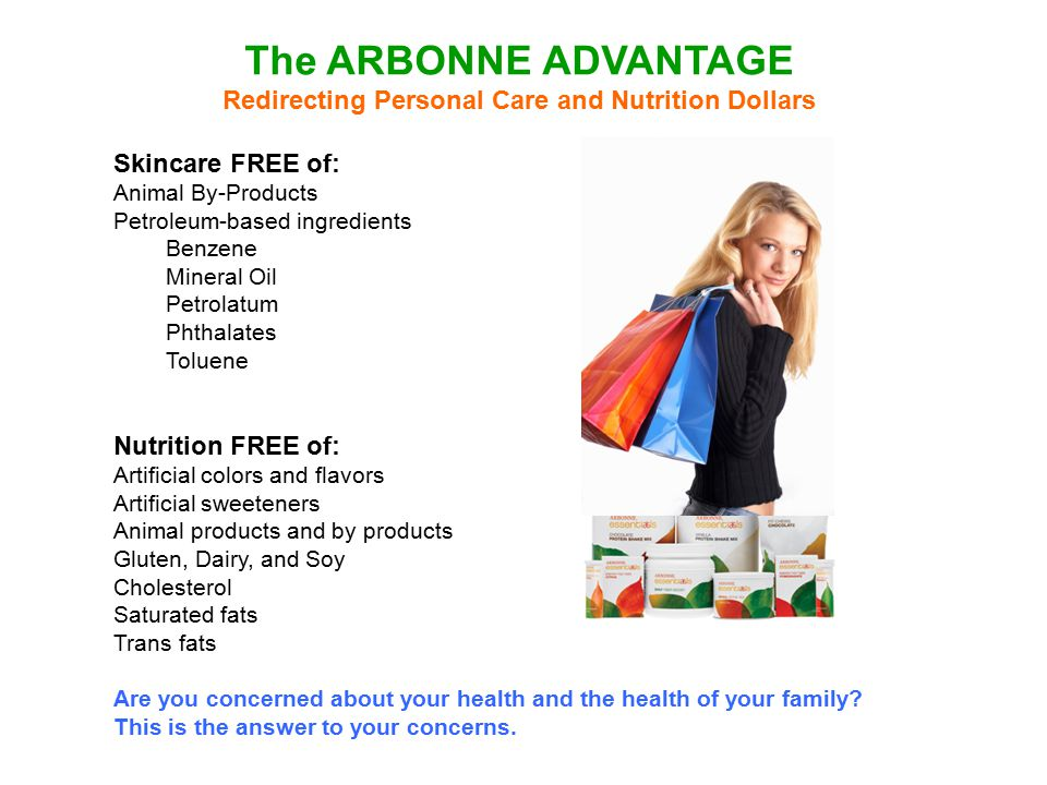 The ARBONNE ADVANTAGE Redirecting Personal Care and Nutrition Dollars Skincare FREE of: Animal By-Products Petroleum-based ingredients Benzene Mineral
