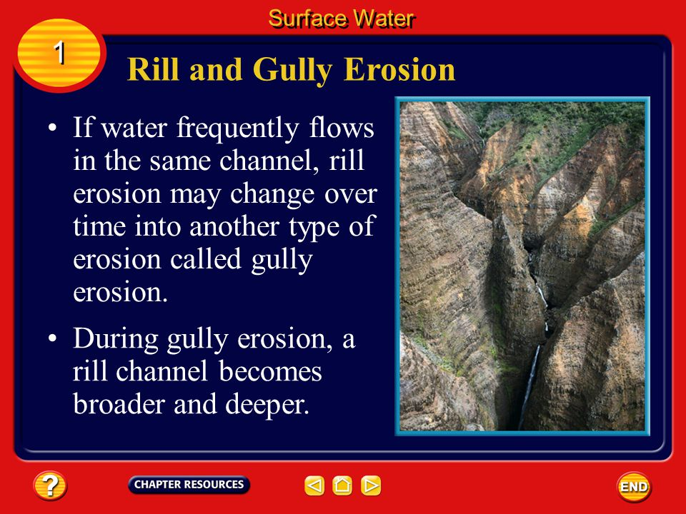 Rill erosion begins when a small stream forms during a heavy rain. Rill and Gully Erosion Surface Water 1 1 As this stream flows along, it has enough