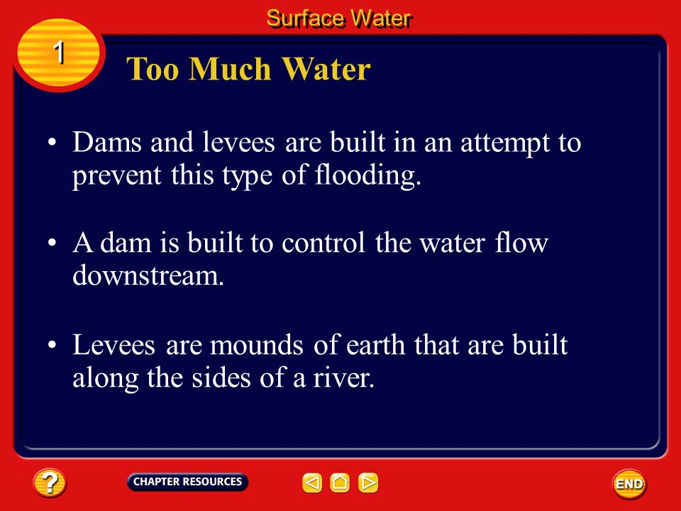 Sometimes heavy rains or a sudden melting of snow can cause large amounts of water to enter a river system. Too Much Water Surface Water 1 1 The water
