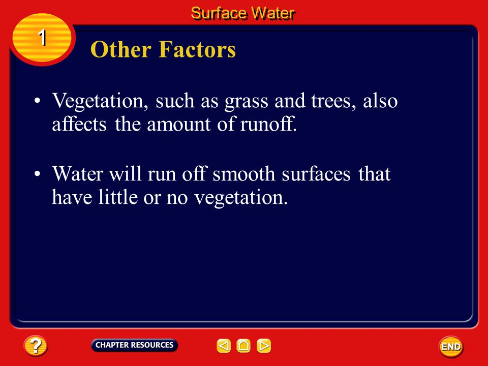 Another factor that affects the amount of runoff is the steepness, or slope, of the land. Gravity causes water to move down slopes. Other Factors Surf