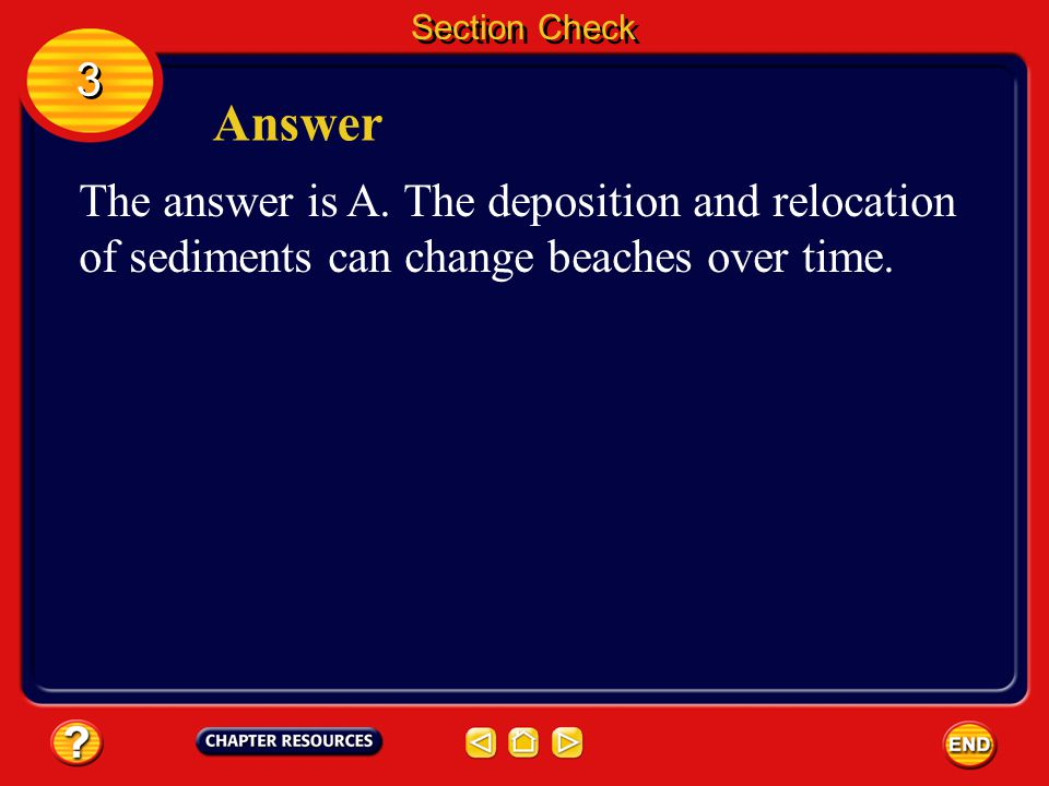 Section Check 3 3 Question 3 __________ are deposits of sediment that are parallel to the shore. A. Beaches B. Cliffs C. Geysers D. Tides