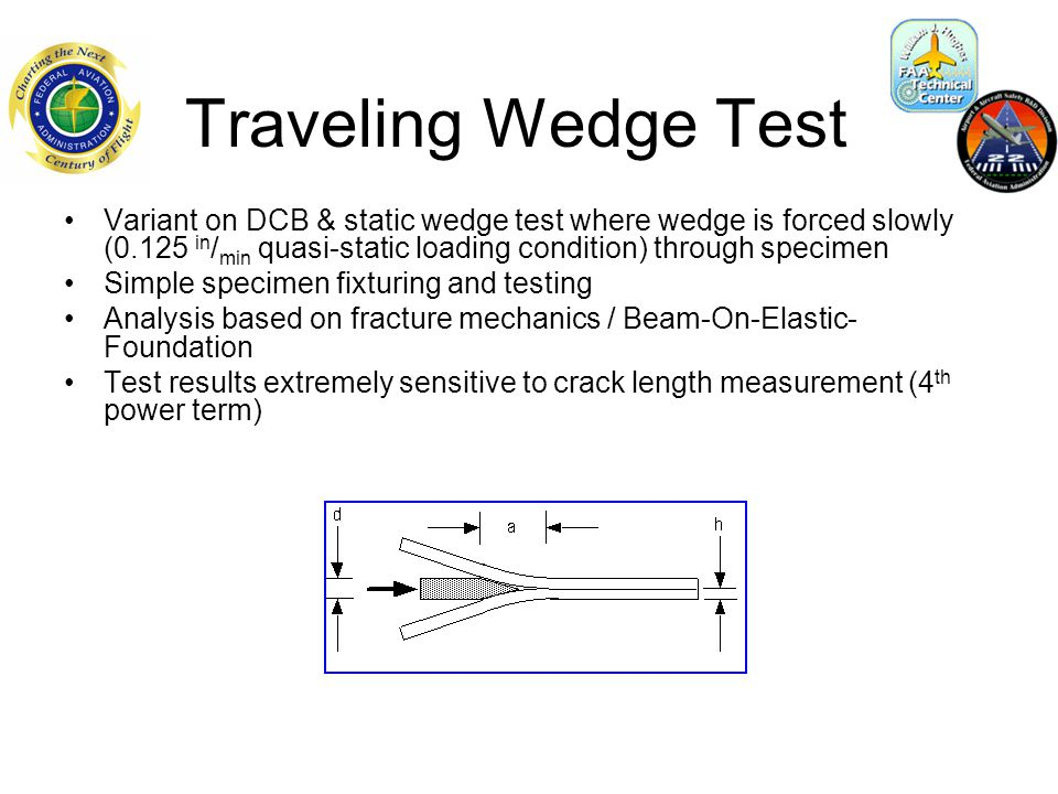 Static Wedge Test Same specimen as traveling wedge Insert 1/8 steel dowel pin with hammer Soak in acidic, basic, or pH-neutral de-ionized room temperature (71  F) H2O Crack growth usually stabilized within several hours 8 preparation types, 4 specimens per group, up to 510 hours exposure