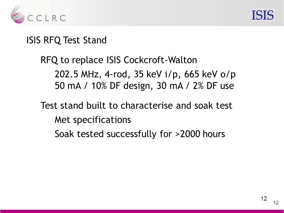 12 ISIS RFQ Test Stand RFQ to replace ISIS Cockcroft-Walton 202.5 MHz, 4-rod, 35 keV i/p, 665 keV o/p 50 mA / 10% DF design, 30 mA / 2% DF use Test st