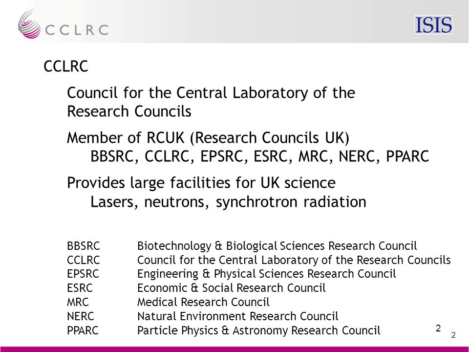 2 2 CCLRC Council for the Central Laboratory of the Research Councils Member of RCUK (Research Councils UK) BBSRC, CCLRC, EPSRC, ESRC, MRC, NERC, PPARC Provides large facilities for UK science Lasers, neutrons, synchrotron radiation BBSRCBiotechnology & Biological Sciences Research Council CCLRCCouncil for the Central Laboratory of the Research Councils EPSRCEngineering & Physical Sciences Research Council ESRCEconomic & Social Research Council MRCMedical Research Council NERCNatural Environment Research Council PPARCParticle Physics & Astronomy Research Council