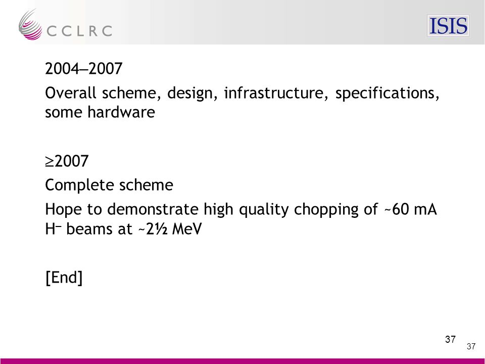 37 2004 – 2007 Overall scheme, design, infrastructure, specifications, some hardware  2007 Complete scheme Hope to demonstrate high quality chopping of ~60 mA H – beams at ~2½ MeV [End]