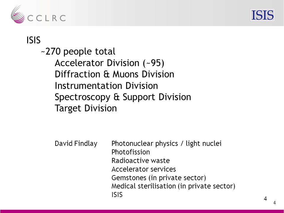 4 4 ISIS ~270 people total Accelerator Division (~95) Diffraction & Muons Division Instrumentation Division Spectroscopy & Support Division Target Division David FindlayPhotonuclear physics / light nuclei Photofission Radioactive waste Accelerator services Gemstones (in private sector) Medical sterilisation (in private sector) ISIS