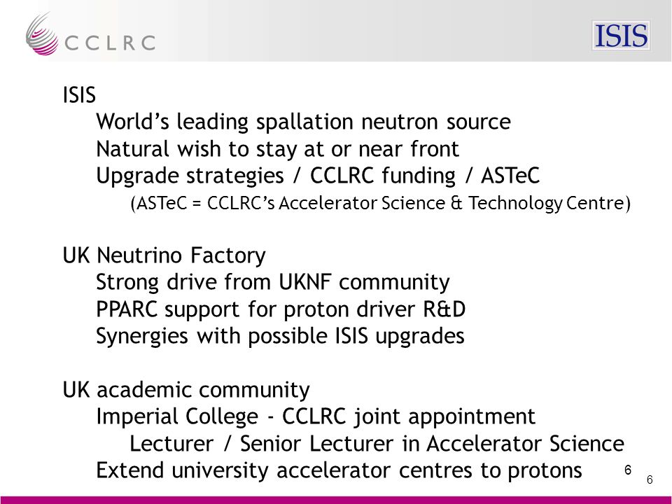 6 6 ISIS World's leading spallation neutron source Natural wish to stay at or near front Upgrade strategies / CCLRC funding / ASTeC (ASTeC = CCLRC's A