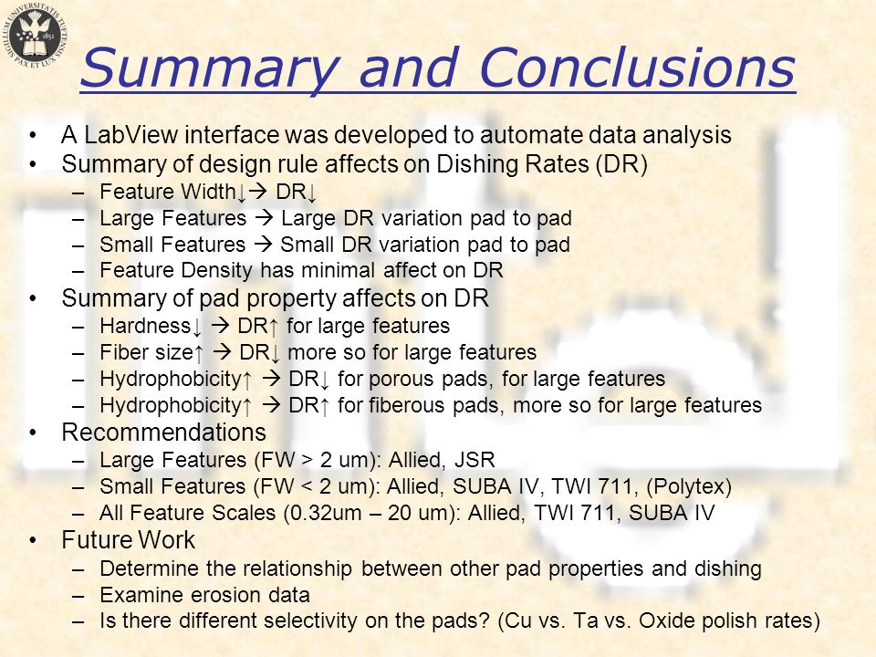 Summary and Conclusions A LabView interface was developed to automate data analysis Summary of design rule affects on Dishing Rates (DR) –Feature Width↓  DR↓ –Large Features  Large DR variation pad to pad –Small Features  Small DR variation pad to pad –Feature Density has minimal affect on DR Summary of pad property affects on DR –Hardness↓  DR↑ for large features –Fiber size↑  DR↓ more so for large features –Hydrophobicity↑  DR↓ for porous pads, for large features –Hydrophobicity↑  DR↑ for fiberous pads, more so for large features Recommendations –Large Features (FW > 2 um): Allied, JSR –Small Features (FW < 2 um): Allied, SUBA IV, TWI 711, (Polytex) –All Feature Scales (0.32um – 20 um): Allied, TWI 711, SUBA IV Future Work –Determine the relationship between other pad properties and dishing –Examine erosion data –Is there different selectivity on the pads.