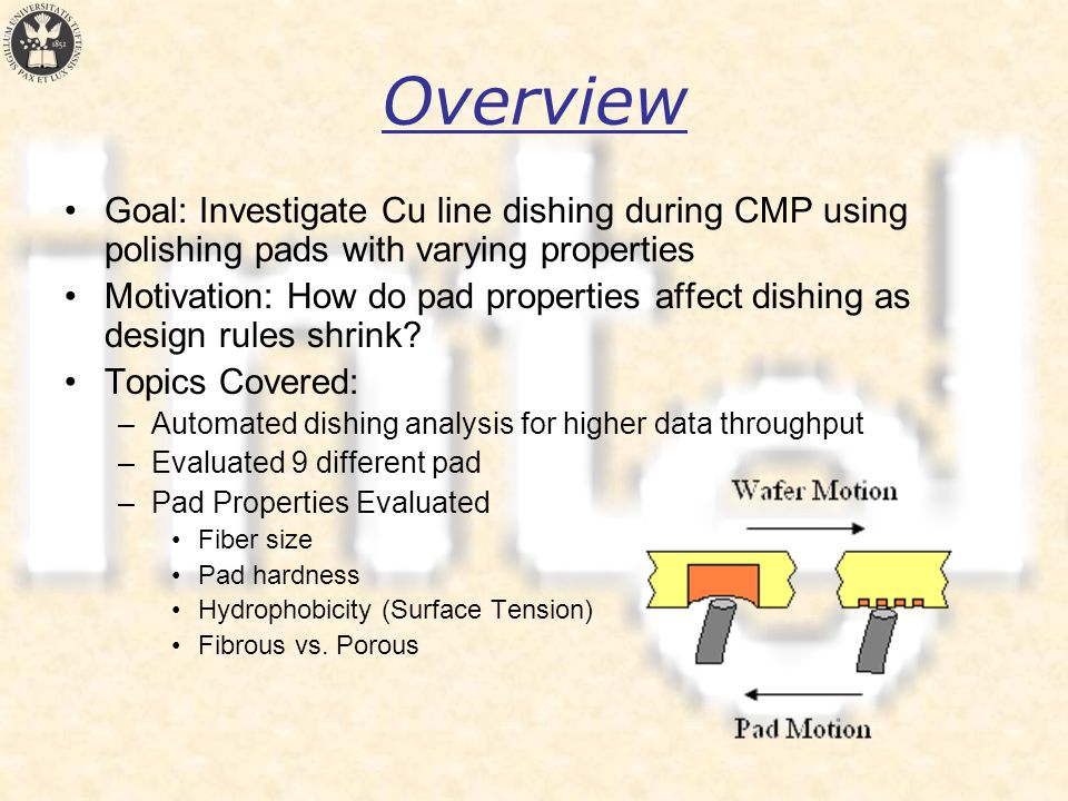 Overview Goal: Investigate Cu line dishing during CMP using polishing pads with varying properties Motivation: How do pad properties affect dishing as design rules shrink.