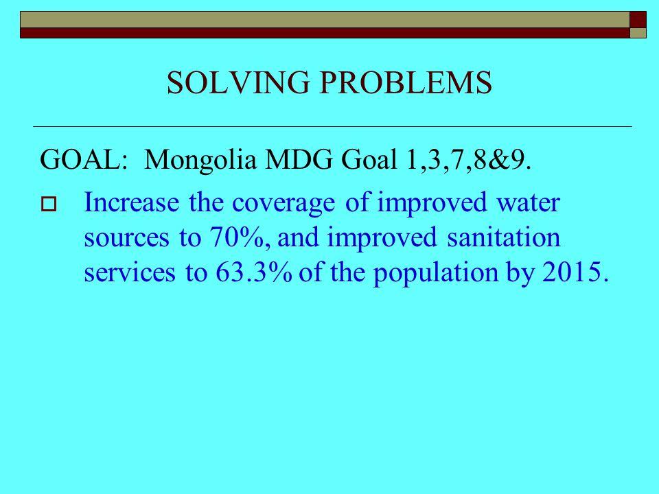 SOLVING PROBLEMS GOAL: Mongolia MDG Goal 1,3,7,8&9.