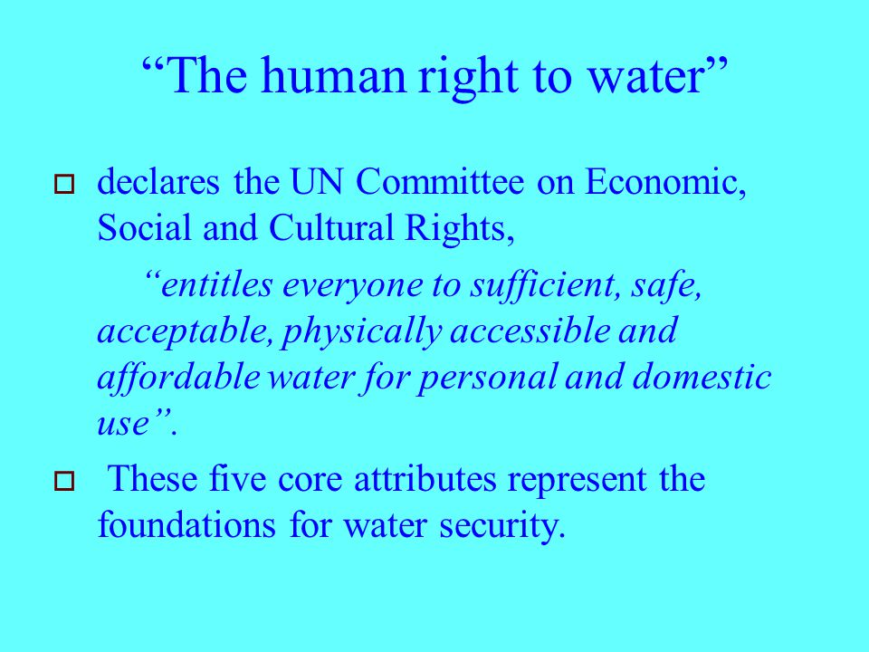 The human right to water  declares the UN Committee on Economic, Social and Cultural Rights, entitles everyone to sufficient, safe, acceptable, physically accessible and affordable water for personal and domestic use .