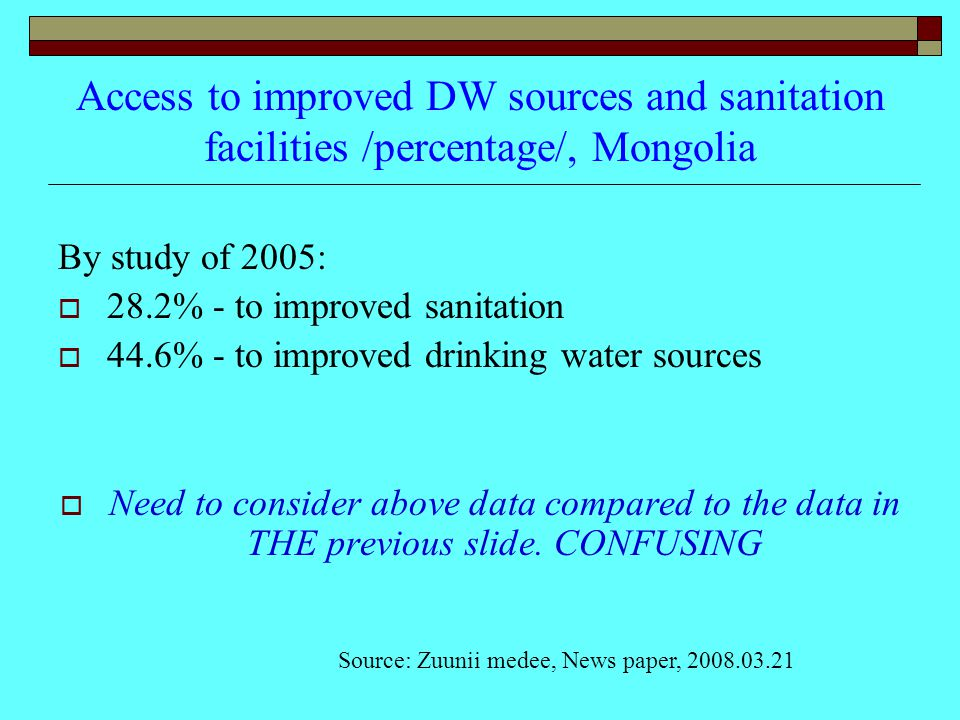 Access to improved DW sources and sanitation facilities /percentage/, Mongolia By study of 2005:  28.2% - to improved sanitation  44.6% - to improved drinking water sources  Need to consider above data compared to the data in THE previous slide.
