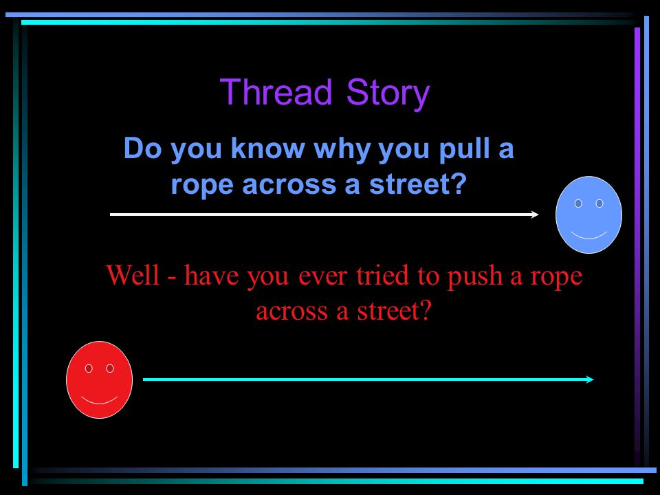 Thread Story Do you know why you pull a rope across a street.