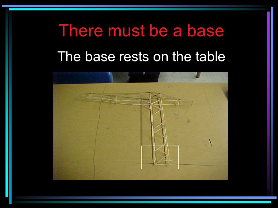 There must be a base The base rests on the table