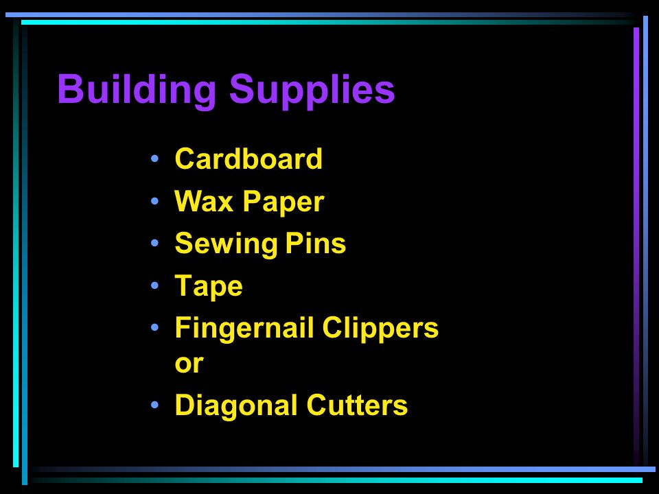 Building Supplies Cardboard Wax Paper Sewing Pins Tape Fingernail Clippers or Diagonal Cutters