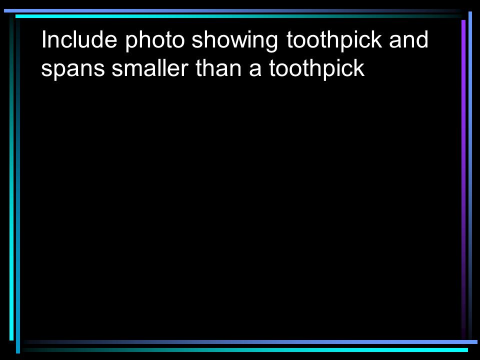 Include photo showing toothpick and spans smaller than a toothpick
