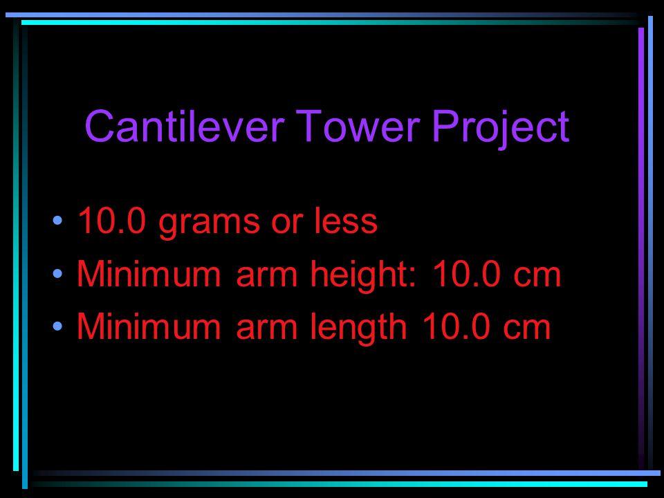 Cantilever Tower Project 10.0 grams or less Minimum arm height: 10.0 cm Minimum arm length 10.0 cm