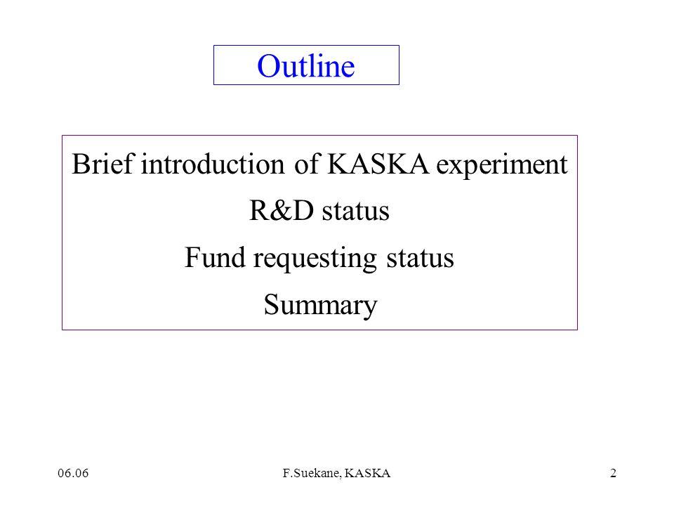06.06F.Suekane, KASKA1 Status of KASKA F.Suekane RC S, Tohoku Univ.