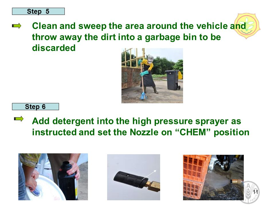 11 Step 5 Clean and sweep the area around the vehicle and throw away the dirt into a garbage bin to be discarded Step 6 Add detergent into the high pr