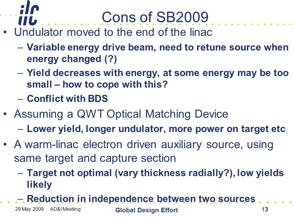 29 May 2009 AD&I Meeting Global Design Effort 13 Cons of SB2009 Undulator moved to the end of the linac –Variable energy drive beam, need to retune so