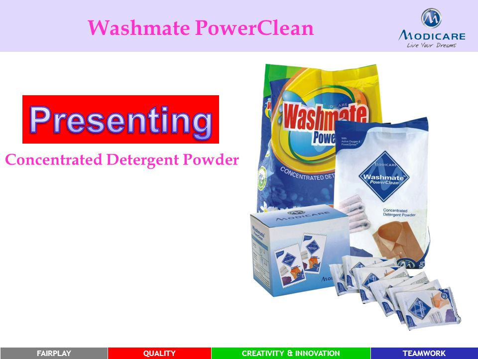 FAIRPLAYQUALITYCREATIVITY & INNOVATIONTEAMWORK Washmate PowerClean Concentrated Detergent Powder