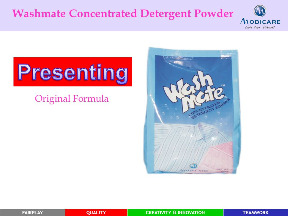 FAIRPLAYQUALITYCREATIVITY & INNOVATIONTEAMWORK Washmate Concentrated Detergent Powder Original Formula