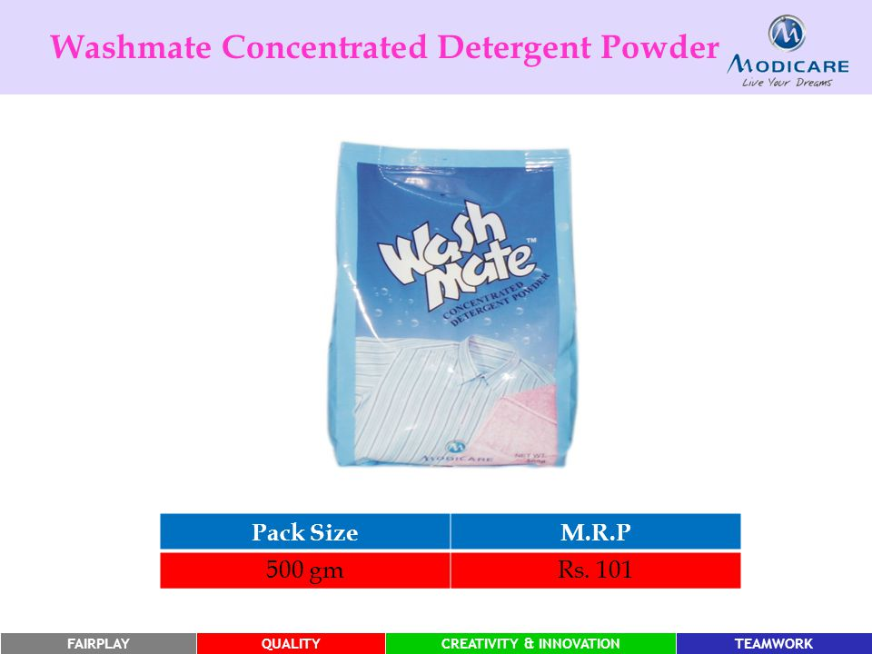 FAIRPLAYQUALITYCREATIVITY & INNOVATIONTEAMWORK Pack SizeM.R.P 500 gmRs. 101 Washmate Concentrated Detergent Powder