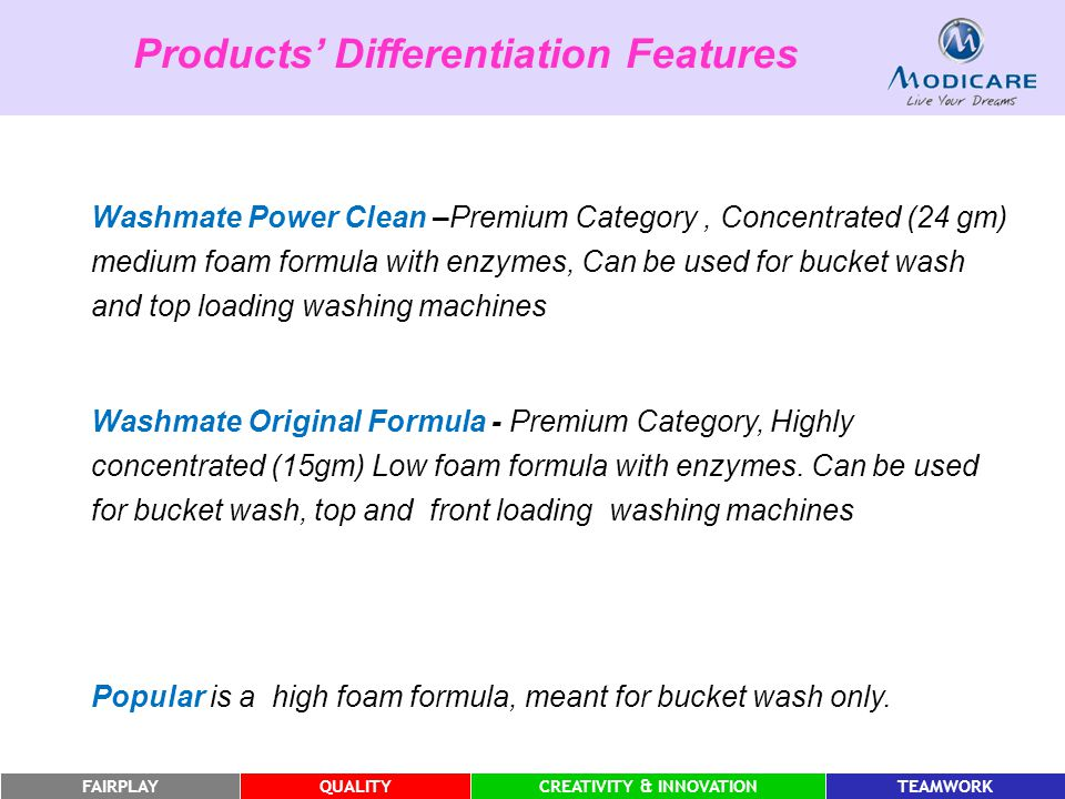 FAIRPLAYQUALITYCREATIVITY & INNOVATIONTEAMWORK Washmate Power Clean –Premium Category, Concentrated (24 gm) medium foam formula with enzymes, Can be u