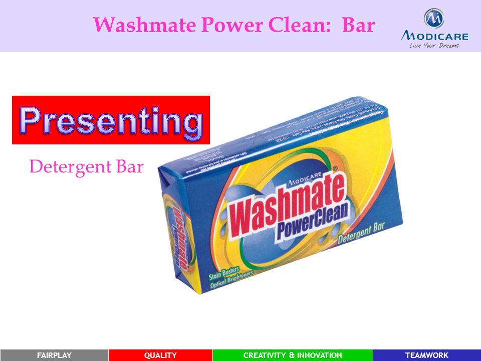 FAIRPLAYQUALITYCREATIVITY & INNOVATIONTEAMWORK Washmate Power Clean: Bar Detergent Bar