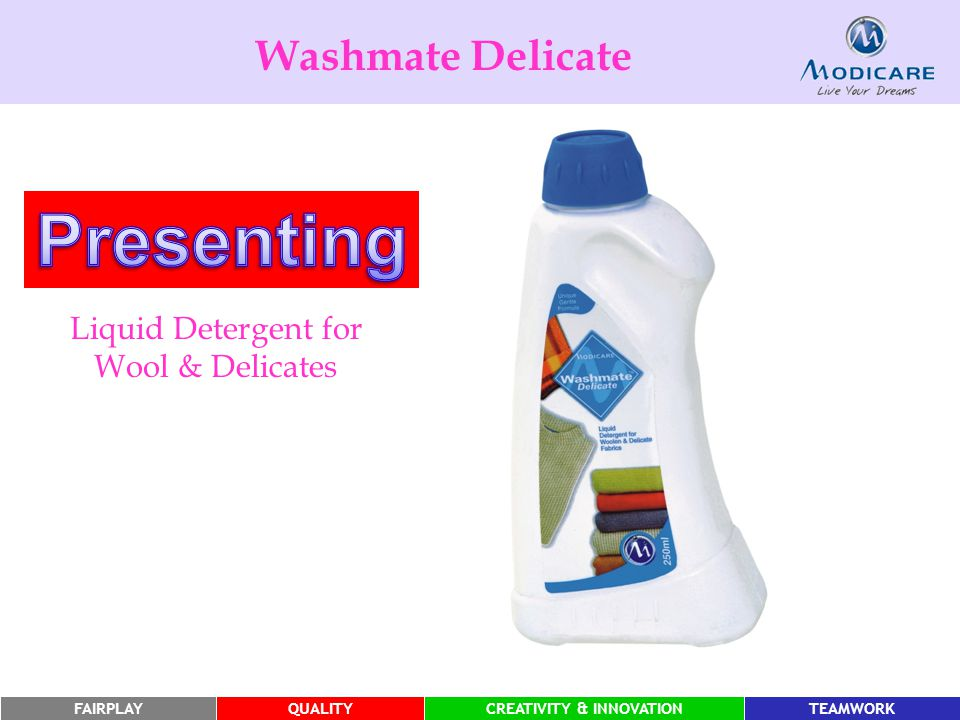 FAIRPLAYQUALITYCREATIVITY & INNOVATIONTEAMWORK Washmate Delicate Liquid Detergent for Wool & Delicates