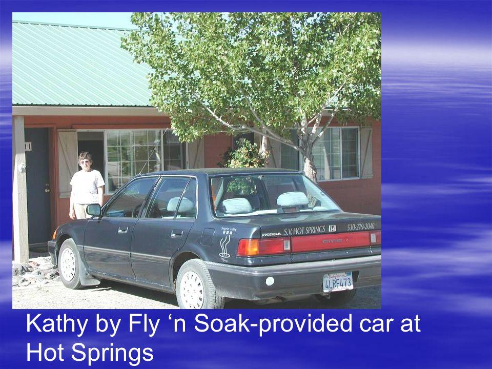 Kathy by Fly 'n Soak-provided car at Hot Springs