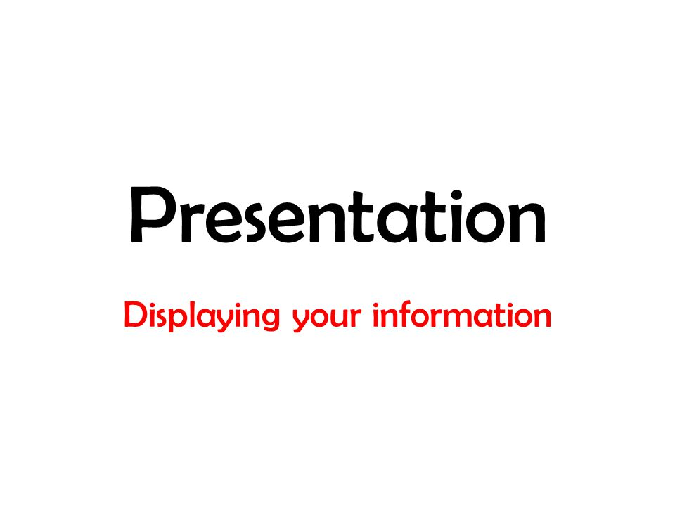 Presentation Displaying your information