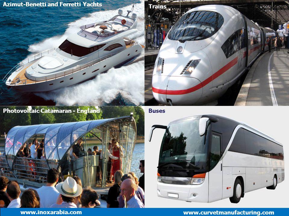 www.curvetmanufacturing.com www.inoxarabia.com Azimut-Benetti and Ferretti Yachts Trains BusesPhotovoltaic Catamaran - England