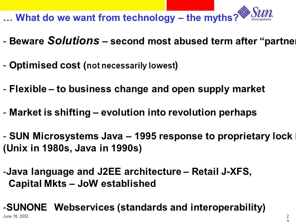 2929 June 18, 2002 … What do we want from technology – the myths.