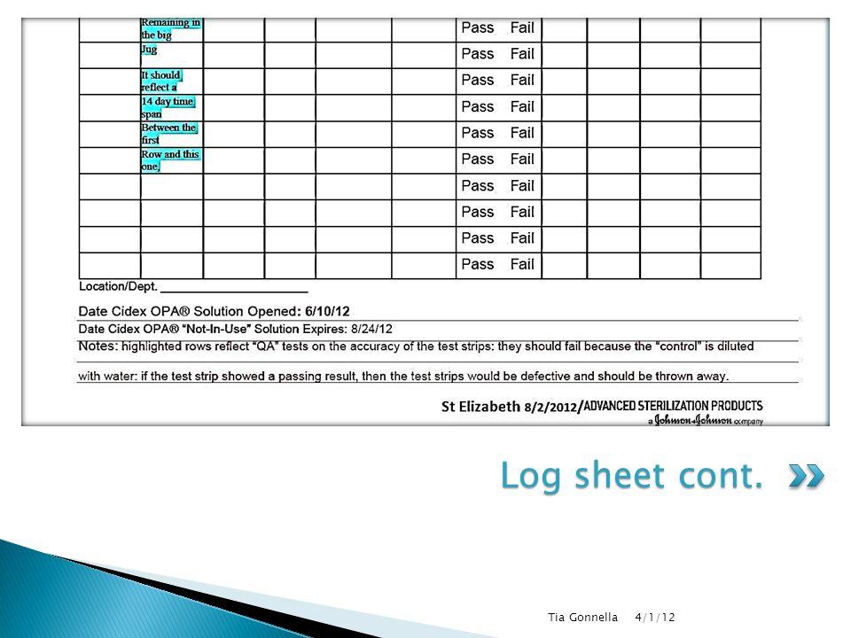 4/1/12 Tia Gonnella Log sheet cont.